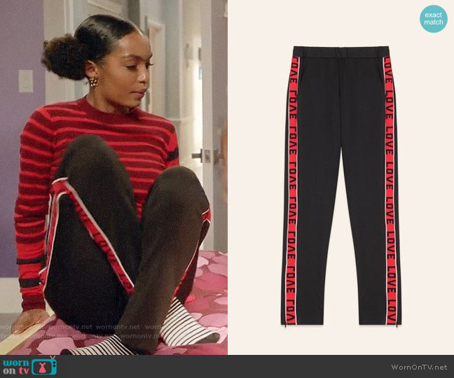Maje Poly Satin Trousers with Bands worn by Zoey Johnson (Yara Shahidi) on Blackish