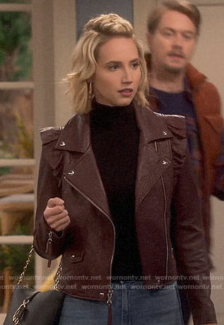 Mandy's burgundy ruffled leather jacket on Last Man Standing