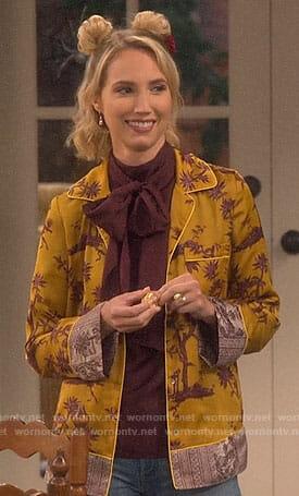 Mandy's yellow palm print jacket on Last Man Standing