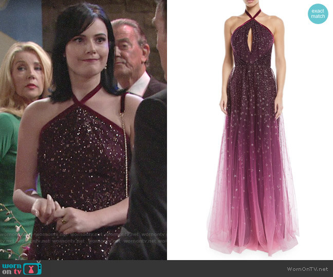 Marchesa Notte Ombre Glitter Tulle Halter Gown worn by Cait Fairbanks on The Young & the Restless