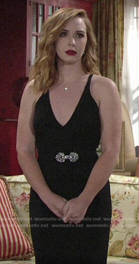 Mariah's black maid of honor dress on The Young and the Restless