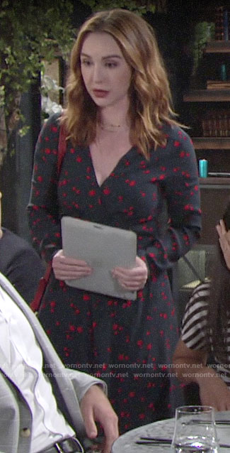 Mariah's blue and red star print dress on The Young and the Restless