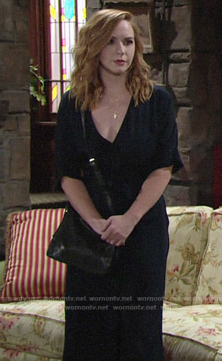 Mariah's navy wrap jumpsuit on The Young and the Restless