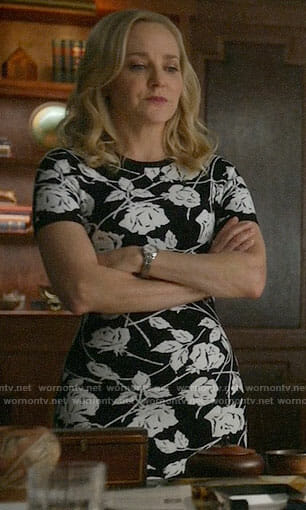 Marissa's black and white rose print dress on Bull