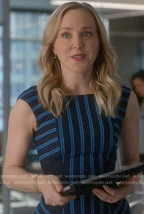 Marissa's blue striped dress on Bull