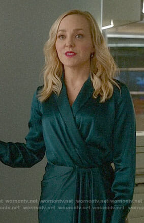 Marissa's green draped wrap dress on Bull
