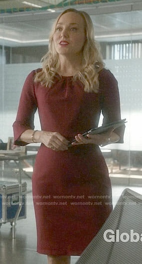 Marissa's red bell-sleeve dress on Bull