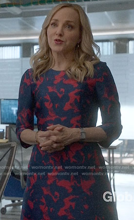 Marissa's red and blue printed dress on Bull