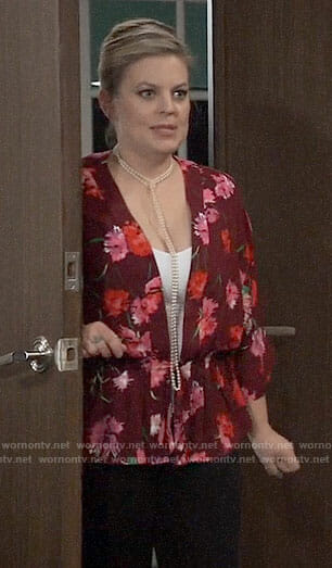 Maxie's red floral kimono top on General Hospital
