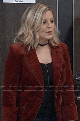 Maxie's red corduroy blazer on General Hospital