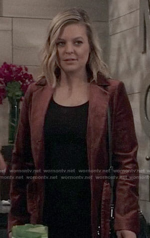 Maxie's brown velvet jacket on General Hospital