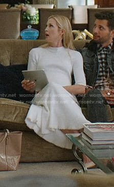 Melissa's white midi dress on Dynasty