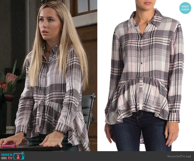 Melrose and Market Plaid Print Hi-Lo Ruffle Hem Tunic worn by Eden McCoy on General Hospital