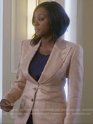 Annalise's beige metallic blazer on How to Get Away with Murder