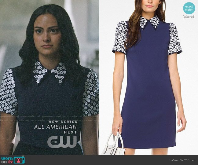 MICHAEL Michael Kors Floral Sequined Collared Shift Dress worn by Veronica Lodge (Camila Mendes) on Riverdale