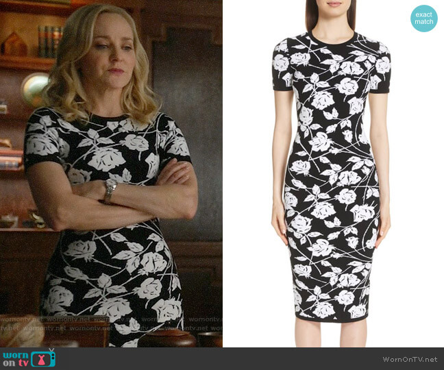 Michael Kors Stencil Rose Jacquard Dress worn by Geneva Carr on Bull