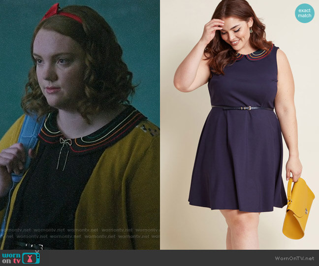 ModCloth Work to Play A-Line Dress in Navy Rainbow worn by Ethel Muggs (Shannon Purser) on Riverdale