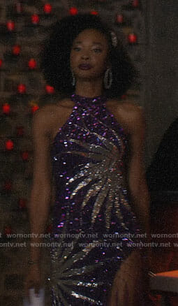 Monica's purple sequin dress on Dynasty