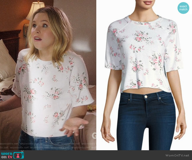 Monrow Rose Cutoff Sweatshirt worn by Kristen Bell on The Good Place