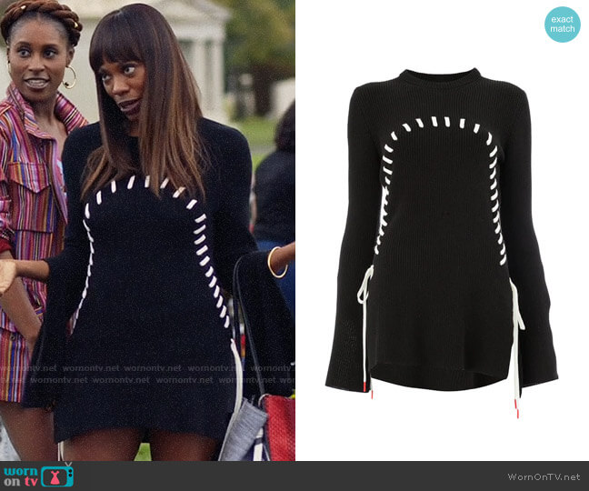Monse Contrast Stitch Flared Jumper worn by Yvonne Orji on Insecure