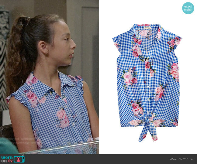 Monteau Big Girls Floral-Print Gingham Top worn by Aubrey Anderson-Emmons on Modern Family