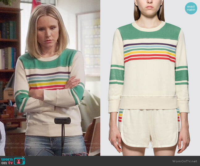 Mother The 1/2 & 1/2 Koozie Sweatshirt worn by Eleanor Shellstrop (Kristen Bell) on The Good Place