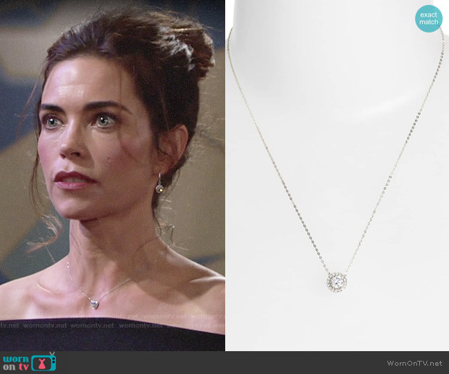 Nadri Halo Pendant Necklace worn by Victoria Newman (Amelia Heinle) on The Young & the Restless