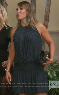 Kelly's navy satin mini dress on The Real Housewives of Orange County