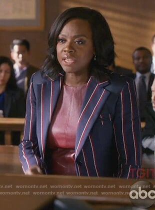 Annalise's navy striped blazer and burgundy leather top on How to Get Away with Murder