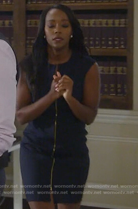 Michaela's navy sleeveless zip-front dress on How to Get Away with Murder