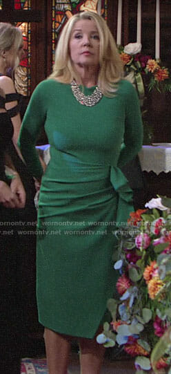 Nikki's green dress at Sharon's wedding on The Young and the Restless