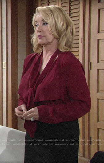 Nikki's red tie neck blouse on The Young and the Restless