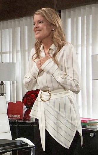 Nina's striped belted blouse on General Hospital