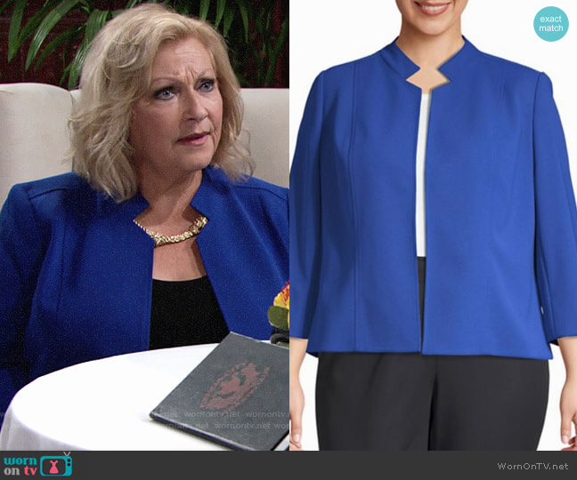 Nipon Boutique Open-Collar Jacket worn by Traci Abbott on The Young and the Restless worn by Traci Abbott (Beth Maitland) on The Young & the Restless