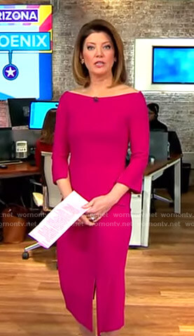 Norah's pink slit dress on CBS This Morning