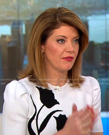 Norah's white tulip print dress on CBS This Morning