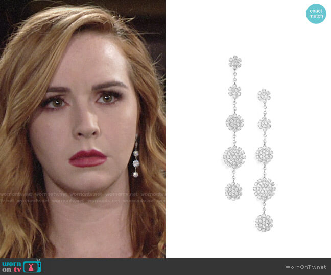 Nordstrom Pavé Starburst Drop Earrings worn by Camryn Grimes on The Young & the Restless