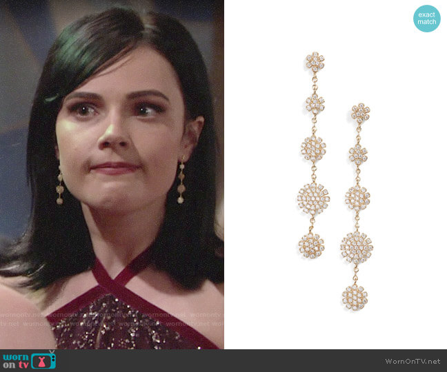 Nordstrom Pave Starburst Drop Earrings worn by Cait Fairbanks on The Young & the Restless