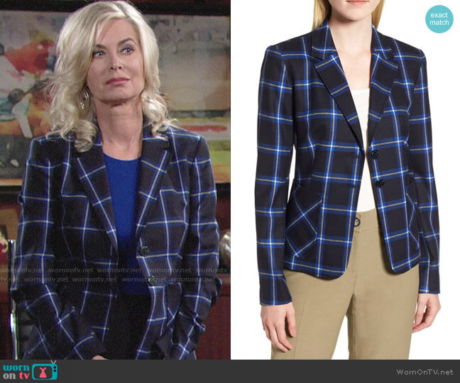 Nordstrom Signature Plaid Blazer worn by Eileen Davidson on The Young & the Restless