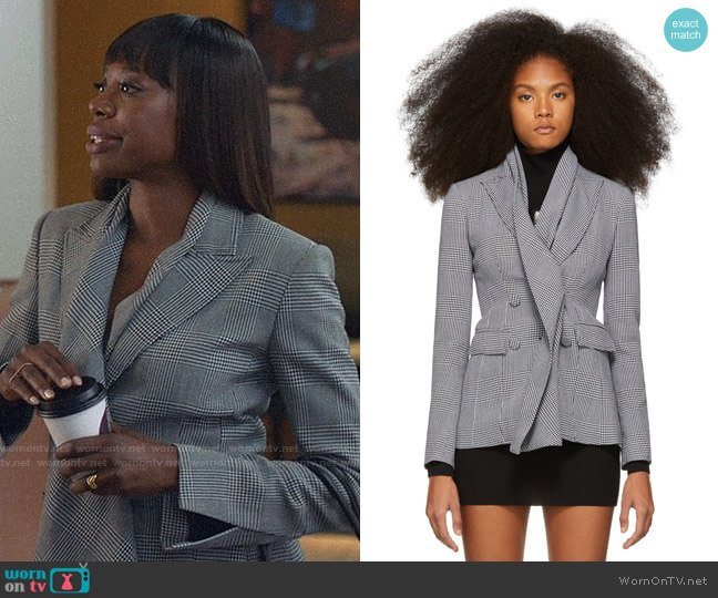 Off White Black & White Galles Double-Breasted Blazer worn by Molly Carter (Yvonne Orji) on Insecure