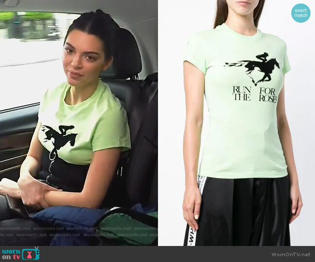 Run For The Roses T-shirt by Off-White worn by Kendall Jenner  on Keeping Up with the Kardashians