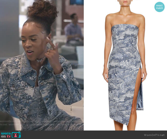 apestry Strapless Side-Split Midi Dress by Off-White worn by Tiana Brown (Serayah McNeill) on Empire
