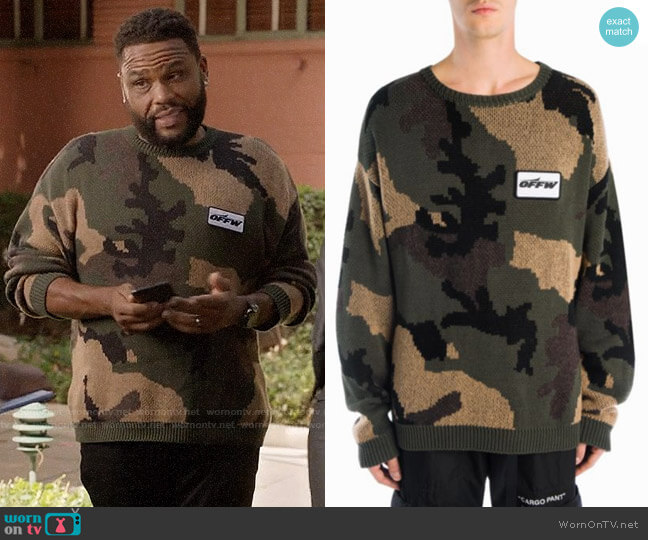 Off White Camouflage Sweater worn by Andre Johnson (Anthony Anderson) on Blackish