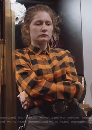 Debbie's orange check shirt on Shameless