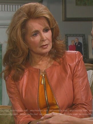 Maggie's zip front colorblock dress and orange leather jacket on Days of Our Lives