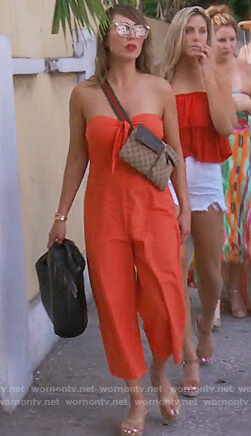 Kelly's orange strapless jumpsuit on The Real Housewives of Orange County