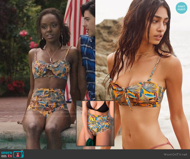 Out From Under Printed Tie-Front Bandeau Bikini Top worn by Ashleigh Murray on Riverdale