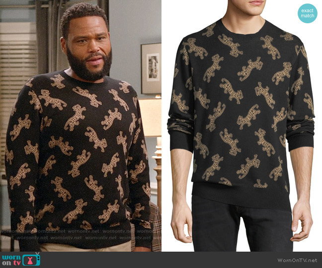 Ovadia & Sons Leopard Jacquard Sweater worn by Anthony Anderson on Blackish
