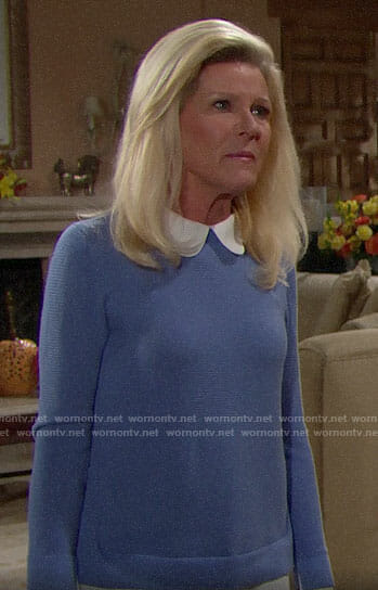 Pam's blue sweater with white collar on The Bold and the Beautiful