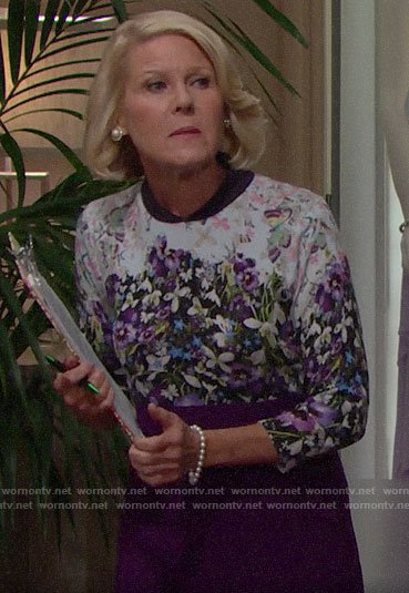 Pam's floral sweater on The Bold and the Beautiful